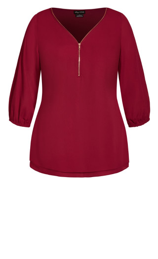 Sexy Fling Elbow Sleeve Top - ruby