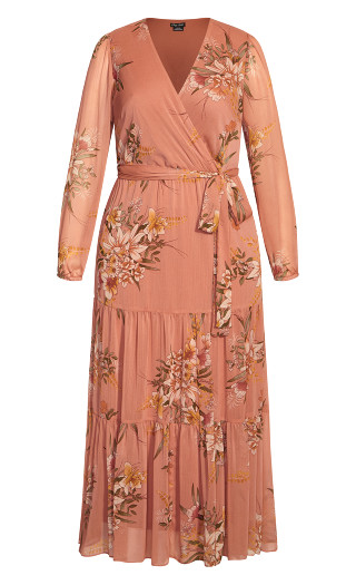 Floral Tiered Maxi Dress - guava