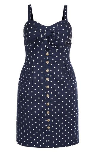 Tie Spot Dress - navy