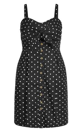 Tie Spot Dress - black