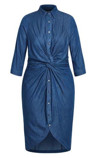 Chambray Twist Dress - mid denim