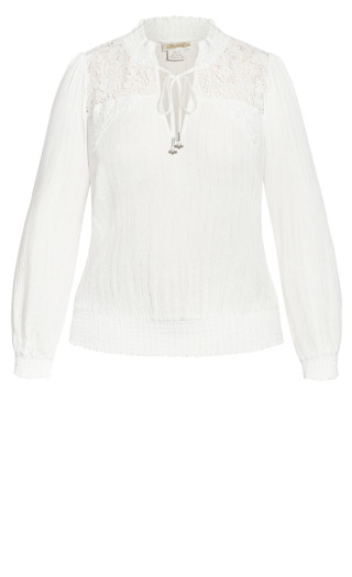 Lace Innocence Top - ivory