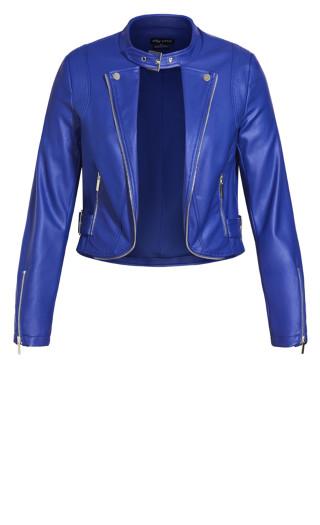 Cropped Biker Jacket - lapis