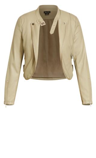 Cropped Biker Jacket - winter pear