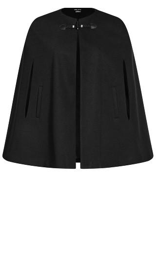 Elegant Cape Jacket - black