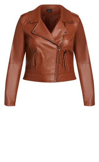Whip Stitch Biker Jacket - copper