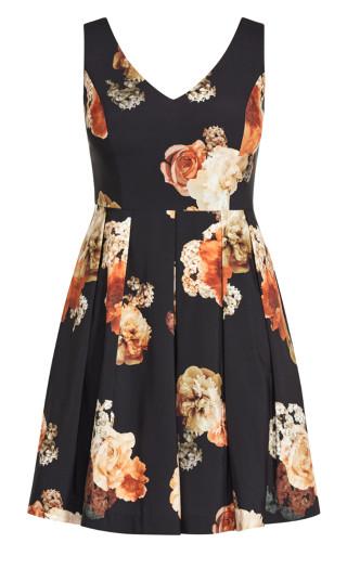 Autumn Rose Dress - black floral