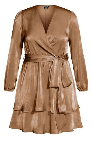 Twisted Ruffle Dress - bronze