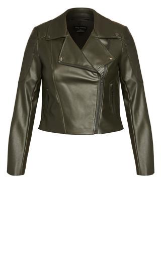 Zip Biker Jacket - khaki