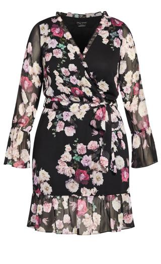 Amore Floral Dress - black