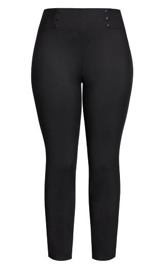 Sleek Button Pant - black
