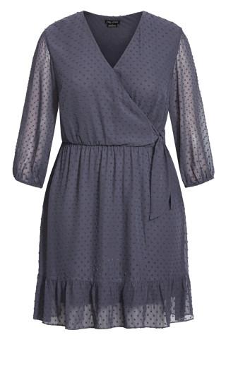 Dobby Ruffles Dress - slate