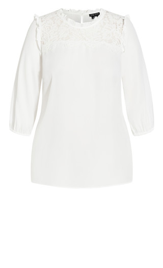 Lace Angel Elbow Sleeve Top - ivory