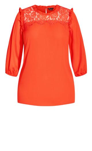 Lace Angel Elbow Sleeve Top - orange pop