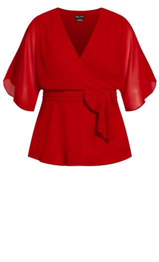 Elegant Wrap Top - red