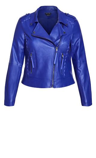 Cross Stitch Biker Jacket - lapis