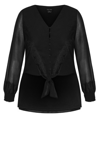 Boho Tie Top - black