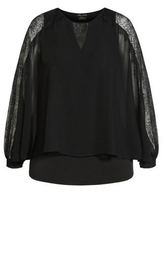 Lace Flow Top - black