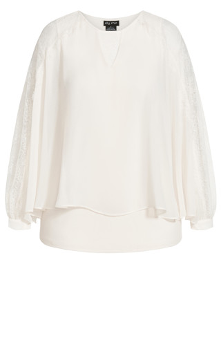 Lace Flow Top - pearl