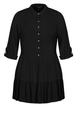 Tiered Shirt Dress - black