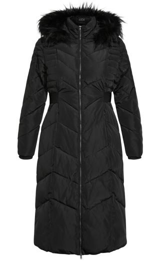 Longline Puffa Jacket - black