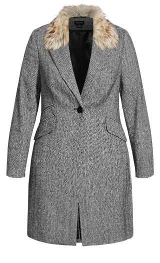 Sleek Faux Fur Coat - grey
