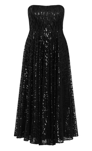 Eternal Shimmer Maxi Dress - black
