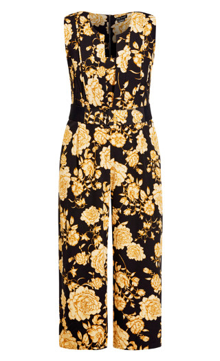 Luxe Floral Jumpsuit - caramel