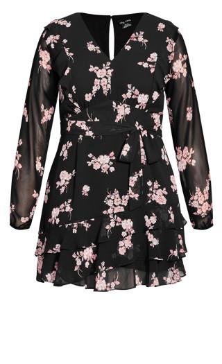 Romantic Frill Dress - black