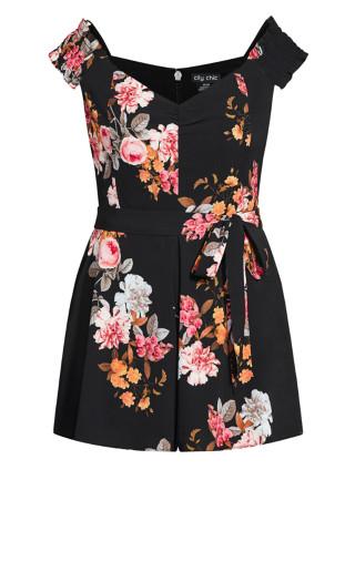 Floral Crush Playsuit - black