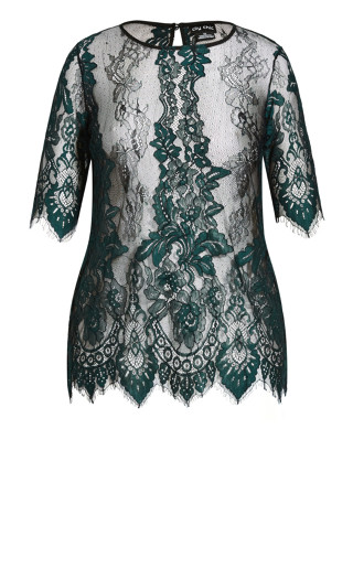 Royal Lace Short Sleeve Top - emerald