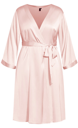 Slinky Midi Robe - soft pink