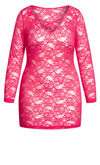 Sheer Lace Chemise - raspberry