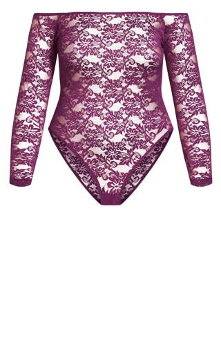 Sheer Lace Bodysuit - amethyst