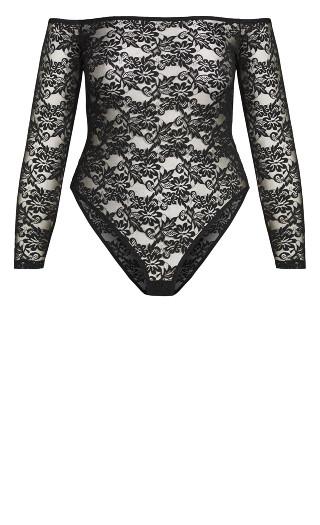 Sheer Lace Bodysuit - black