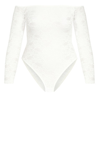 Sheer Lace Bodysuit - ivory