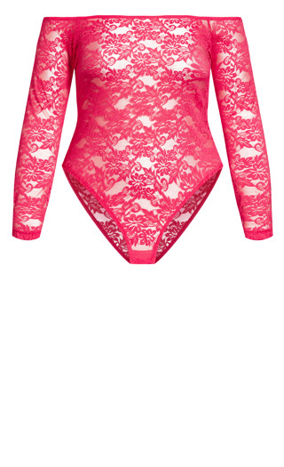Sheer Lace Bodysuit - raspberry