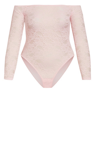 Sheer Lace Bodysuit - soft pink