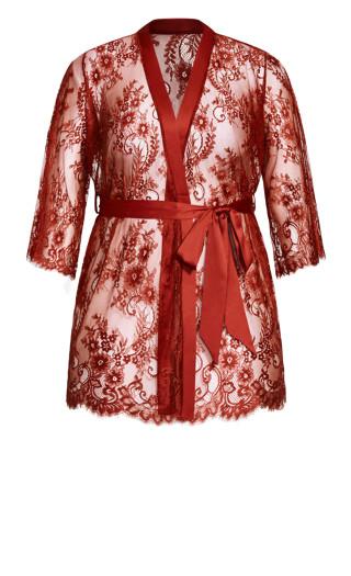 Eva Lace Robe - pomegranate
