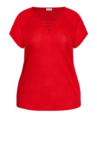 3 Bar V Neck Top - red