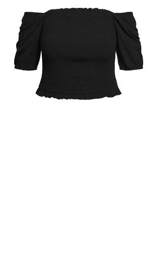 Sweetly Shirred Top - black