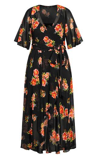 Petal Power Maxi Dress - black