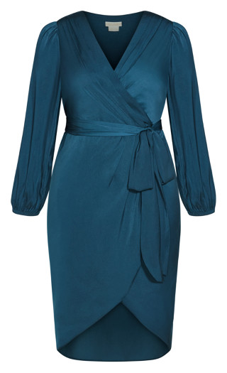 Opulent Elbow Sleeve Dress - teal