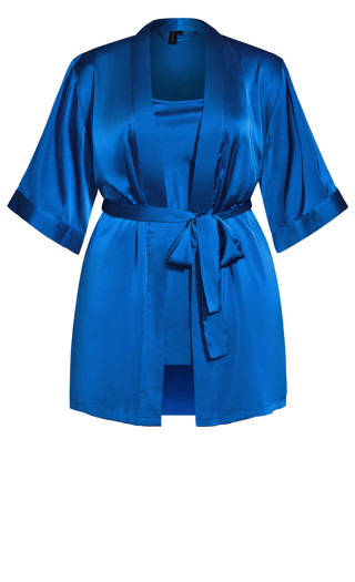 Satin Chemise & Robe Set - french blue