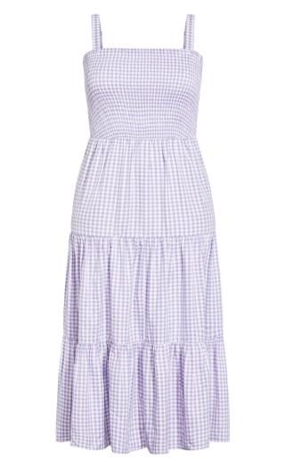 Gingham Maxi Dress - lilac