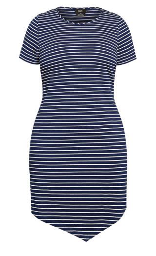 Laid Back Stripe Dress - navy