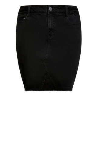 Denim Stretch Skirt - black