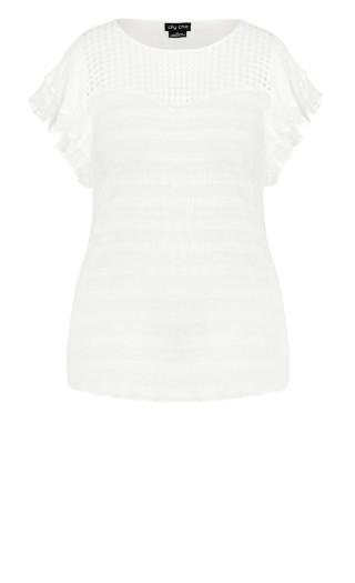 Crosshatch Top - white