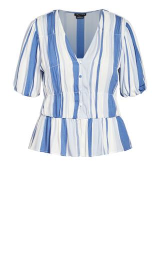 Hamptons Top - indigo stripe