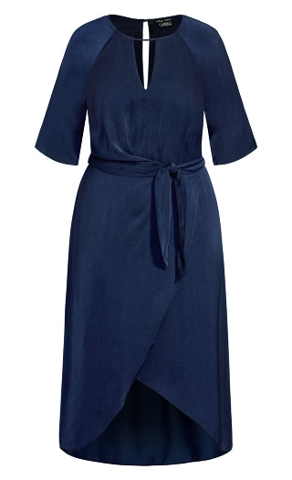Sleek Tie Dress - dark navy